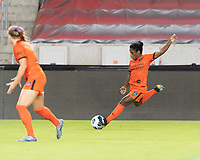 Jasmine Spencer #22 of the Houston Dash takes a shot at the Chicago goal during a game between Chicago Red Stars and Houston Dash at BBVA Stadium on September 10, 2021 in Houston, Texas.