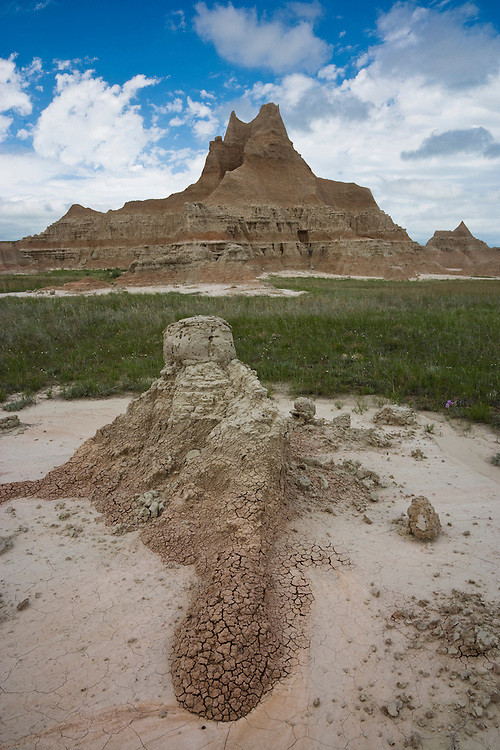 Clouds over the badland formations near the Door/Window Trail; Badlands National Park, SD