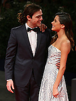 Martina Stoessel, right, and her boyfriend Peter Lanzani attend the red carpet for the premiere of the movie 'El Clan' during the 72nd Venice Film Festival at the Palazzo Del Cinema in Venice, Italy, September 6, 2015.<br /> UPDATE IMAGES PRESS/Stephen Richie