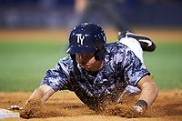Tampa Yankees second baseman Nick Solak (39) dives back to first base on a pickoff attempt throw during a game against the Bradenton Marauders on April 15, 2017 at George M. Steinbrenner Field in Tampa, Florida.  Tampa defeated Bradenton 3-2.  (Mike Janes/Four Seam Images)