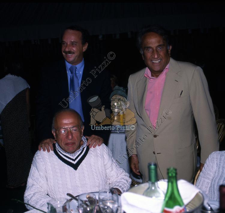 FEDELE CONFALONIERI CON CLEMENTE MIMUN ED EMILIO FEDE<br /> FESTA PER I 60 ANNI DI MAURIZIO COSTANZO<br /> MANEGGIO DI GIANNELLA  1998