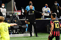 ATLANTA, GA - AUGUST 22: Nashville manager Gary Smith watches play during a game between Nashville SC and Atlanta United FC at Mercedes-Benz Stadium on August 22, 2020 in Atlanta, Georgia.