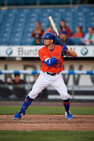 Syracuse Mets Brandon Nimmo (23) bats during an International League game against the Charlotte Knights on June 11, 2019 at NBT Bank Stadium in Syracuse, New York.  Syracuse defeated Charlotte 15-8.  (Mike Janes/Four Seam Images)