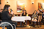 The Canadian Paralympic Committee cross country tour hosts guests at it's foundation event in Calgary, Alberta on January 19, 2016.  Chantal Petitclerc speaks about her Beijing Paralympics experiences.