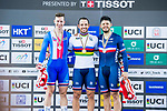 Francois Pervis of France celebrates winning in the Men's Kilometre TT's prize ceremony with Tomas Babek (l) of Czech Republic and Quentin Lafargue (r) of France during the 2017 UCI Track Cycling World Championships on 16 April 2017, in Hong Kong Velodrome, Hong Kong, China. Photo by Marcio Rodrigo Machado / Power Sport Images