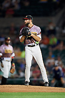 Rochester Red Wings relief pitcher Jake Reed (40) gets ready to deliver a pitch during a game against the Lehigh Valley IronPigs on June 29, 2018 at Frontier Field in Rochester, New York.  Lehigh Valley defeated Rochester 2-1.  (Mike Janes/Four Seam Images)