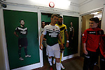 Aberystwyth Town 1 Newtown 2, 17/05/2015. Park Avenue, Europa League Play Off final. The captains lead their teams into the tunnel. Aberystwyth finished 14 points above Newtown in the Welsh Premier League, but were beaten 1-2 in the Play Off Final. Photo by Paul Thompson.