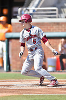 South Carolina Gamecocks center fielder TJ Hopkins (5) swings at a pitch during a game against the Tennessee Volunteers at Lindsey Nelson Stadium on March 18, 2017 in Knoxville, Tennessee. The Gamecocks defeated Volunteers 6-5. (Tony Farlow/Four Seam Images)