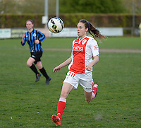 20150428 - VARSENARE , BELGIUM : Standard's Tessa Wullaert  pictured in action during the soccer match between the women teams of Club Brugge Vrouwen and Standard de Liege Femina , on the 24th matchday of the BeNeleague competition Tuesday 28 th April 2015 in Varsenare . PHOTO DAVID CATRY
