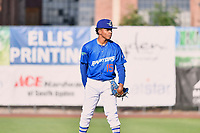 Ogden Raptors starting pitcher Edwin Uceta (15) delivers a pitch to the plate against the Orem Owlz in Pioneer League  action at Lindquist Field on June 22, 2017 in Ogden, Utah. The Owlz defeated the Raptors 13-8.  (Stephen Smith/Four Seam Images)