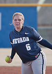 March 10, 2012:   Nevada Wolf Pack pitcher Ariel Craig throws against the Wisconsin Badgers during their NCAA softball game played as part of the The Wolf Pack Classic at Christina M. Hixson Softball Park on Saturday in Reno, Nevada.