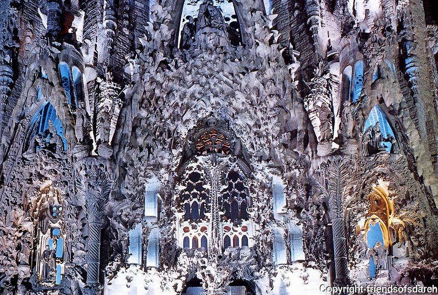Detail of Sagrada Familia designed by Antoni Gaudi. Barcelona, Spain.