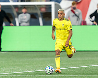 FOXBOROUGH, MA - OCTOBER 3: Randall Leal #8 of Nashville SC brings the ball forward during a game between Nashville SC and New England Revolution at Gillette Stadium on October 3, 2020 in Foxborough, Massachusetts.