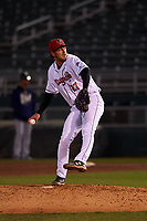 Lansing Lugnuts relief pitcher Jackson Rees (27) during a Midwest League game against the Wisconsin Timber Rattlers at Cooley Law School Stadium on May 1, 2019 in Lansing, Michigan. Wisconsin defeated Lansing 2-1 in the second game of a doubleheader. (Zachary Lucy/Four Seam Images)