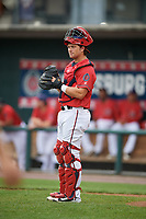 Harrisburg Senators catcher Taylor Gushue (36) during a game against the Akron RubberDucks on August 18, 2018 at FNB Field in Harrisburg, Pennsylvania.  Akron defeated Harrisburg 5-1.  (Mike Janes/Four Seam Images)