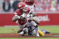 Arkansas running back Trelon Smith (22) carries the ball, Saturday, November 21, 2020 during the fourth quarter of a football game at Donald W. Reynolds Razorback Stadium in Fayetteville. Check out nwaonline.com/201122Daily/ for today's photo gallery. <br /> (NWA Democrat-Gazette/Charlie Kaijo)