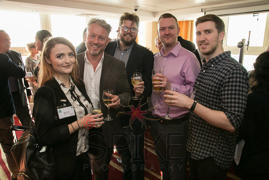 Pictured from left are Abbey Plumb of Warhammer, Bertie Cordingly of Onify, Jack Wilson of Oar Sport, Paul Kennedy of Byte and Ross Davies of Strafe Creative