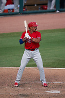 Philadelphia Phillies Edgar Cabral (72) bats during a Major League Spring Training game against the Baltimore Orioles on March 12, 2021 at the Ed Smith Stadium in Sarasota, Florida.  (Mike Janes/Four Seam Images)