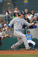 Alex Gordon #27 of the Wilmington Blue Rocks  hitting against the Myrtle Beach Pelicans on April 10, 2010  in Myrtle Beach, SC. Gordon was on a rehab assignment for the Kansas City Royals.
