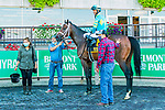 OCT 03, 2020 : Fire at Will with Kendrick Carmouche  aboard, wins the Grade 2 Pilgrim   Stakes, for 2 year olds, on the inner turf, at Belmont Park, Elmont, NY.  Sue Kawczynski/Eclipse Sportswire/CSM