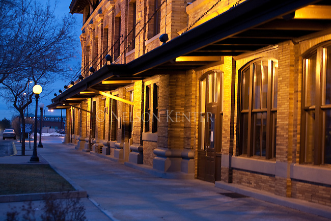 A night scene of the Northern Pacific building at the end of Higgins Avenue in downtown Missoula, Montana
