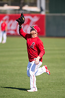 Los Angeles Angels outfielder Kole Calhoun (56) during Spring Training Camp on February 22, 2018 at Tempe Diablo Stadium in Tempe, Arizona. (Zachary Lucy/Four Seam Images)