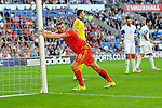 EURO 2016 QUALIFYING: WALES V ISRAEL AT CARDIFF CITY STADIUM : <br /> Gareth Bale of Wales stretches against the Israel goalposts.<br /> <br /> EDITORIAL USE ONLY.