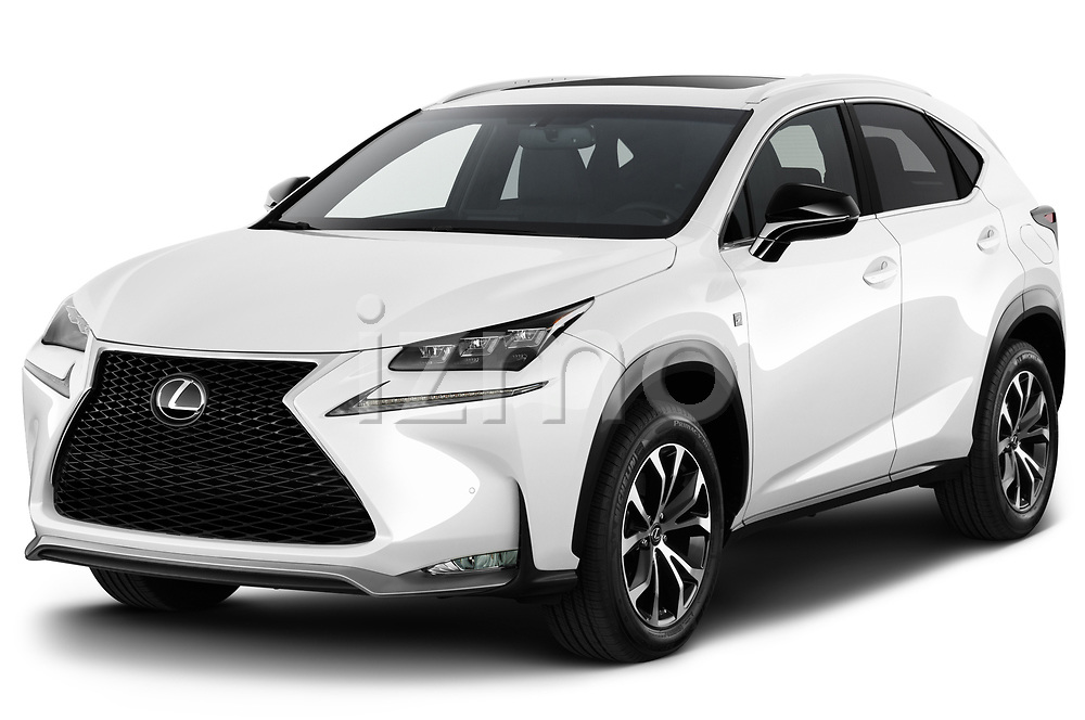 2017 Lexus NX 200t-F-Sport 5 Door SUV Angular Front stock photos of front three quarter view