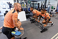 (L-R) Mike van der Hoorn, Leroy Fer and Luciano Narsingh exercise in the gym during the Swansea City Training Session at The Fairwood Training Ground, Swansea, Wales, UK. Thursday 27 September 2018