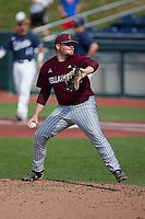 Bellarmine Knights relief pitcher Reece Davis (44) in action against the Liberty Flames at Liberty Baseball Stadium on March 9, 2021 in Lynchburg, VA. (Brian Westerholt/Four Seam Images)