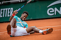 28th September 2020, Roland Garros, Paris, France; French Open tennis, Roland Garros 2020;   Gael Monfils of France falls during the mens singles first round match with Alexander Bublik of Kazakhstan
