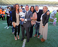 FAO SPORTS PICTURE DESK<br /> Pictured: Manager Brendan Rodgers with his grandson with his wife and the rest of his family at the end of the game. Sunday, 13 May 2012<br /> Re: Premier League football, Swansea City FC v Liverpool FC at the Liberty Stadium, south Wales.