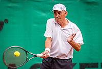 Hilversum, The Netherlands,  August 20, 2021,  Tulip Tennis Center, NKS, National Senior Tennis Championships, Men's Single 70+,  Peter Vaarties (NED)<br /> Photo: Tennisimages/Henk Koster
