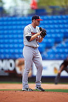 Brevard County Manatees starting pitcher Brandon Woodruff (24) gets ready to deliver a pitch during a game against the St. Lucie Mets on April 17, 2016 at Tradition Field in Port St. Lucie, Florida.  Brevard County defeated St. Lucie 13-0.  (Mike Janes/Four Seam Images)