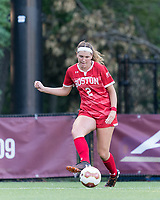 NEWTON, MA - AUGUST 29: Ashley Buck #2 of Boston University passes the ball during a game between Boston University and Boston College at Newton Campus Field on August 29, 2019 in Newton, Massachusetts.