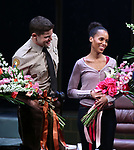 Jeremy Jordan and Kerry Washington during the Broadway Opening Night Curtain Call for 'AMERICAN SON' at the Booth Theatre on November 4, 2018 in New York City.