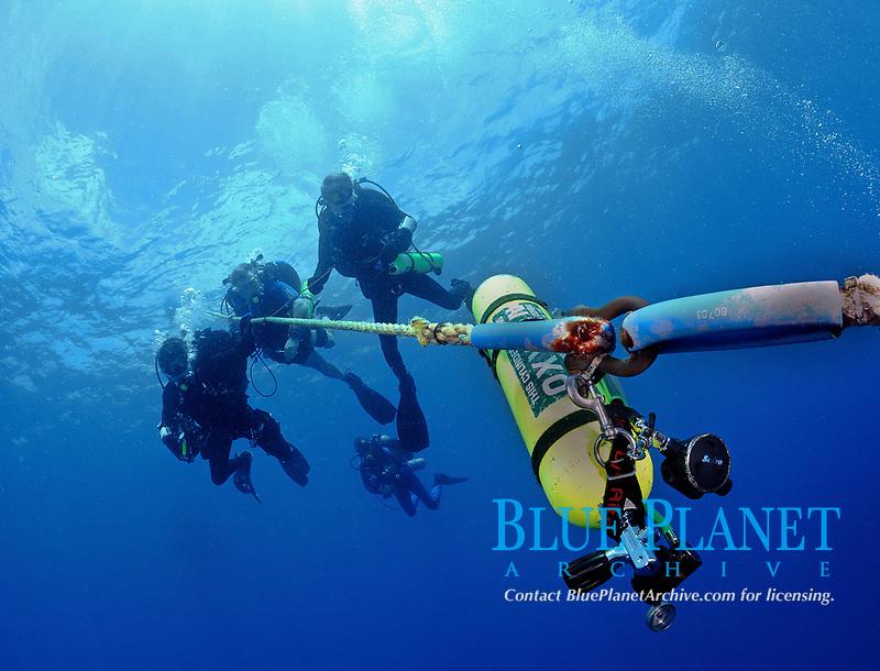 Divers oxygen stage bottle attached to upline on ship wreck, Key Largo, Florida, USA, Atlantic