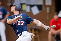 Taylor Harshman #27 of the Ole Miss Rebels follows through on his swing against the Virginia Cavaliers at the Charlottesville Regional of the 2010 College World Series at Davenport Field on June 5, 2010, in Charlottesville, Virginia.  The Cavaliers defeated the Rebels 13-7.  Photo by Brian Westerholt / Four Seam Images