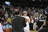 March 14, 2010.  Ashley Cimino receives her game ball after the Stanford Cardinal beat the UCLA Bruins to win the 2010 Pac-10 Tournament.