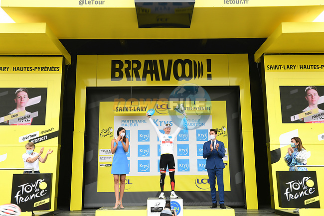 Race leader Tadej Pogacar (SLO) UAE Team Emirates wins Stage 17 and also retains the young riders White Jersey of the 2021 Tour de France, running 178.4km from Muret to Saint-Lary-Soulan Col du Portet, France. 14th July 2021.  <br /> Picture: A.S.O./Pauline Ballet | Cyclefile<br /> <br /> All photos usage must carry mandatory copyright credit (© Cyclefile | A.S.O./Pauline Ballet)