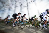 Luke Rowe (GBR) tucked for speed<br /> <br /> Nokere Koerse 2014