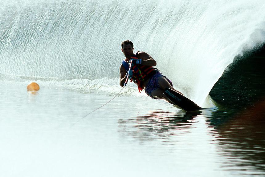 Man water skiing.