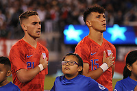 EAST RUTHERFORD, NJ - SEPTEMBER 6: Tyler Boyd #21 of the United States, Alfredo Morales #15 of the United States during the presentation of the team during a game between Mexico and USMNT at MetLife Stadium on September 6, 2019 in East Rutherford, New Jersey.