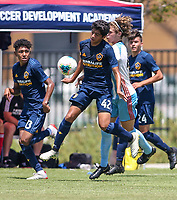 Irvine, CA - July 10, 2019: U.S. Soccer Boys' DA U-16/17 Third Place LA Galaxy vs De Anza Force at Great Park.