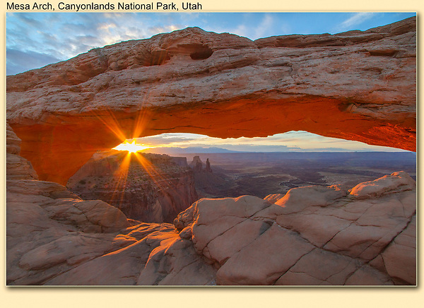 The Shot.<br /> This is the classic photo of Mesa Arch that most photographers are hoping for. There are often 20 to 30 photographers, all using tripods, huddled around a very small opening. Use a very small lens aperture, like f-22, for a better star effect.<br /> You can also run across the arch, it's about 8 feet wide, but a 500 foot drop. Shortly after this was taken, almost everyone was gone, nice. <br /> Canyonlands National Park, Utah, USA.