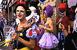 'GAYFEST MANCHESTER, UK', REVELLERS DRESSED UP IN DIFFERENT OUTFITS, REPRESENTING CHILDREN'S CARTOON CHARACTERS, 1999