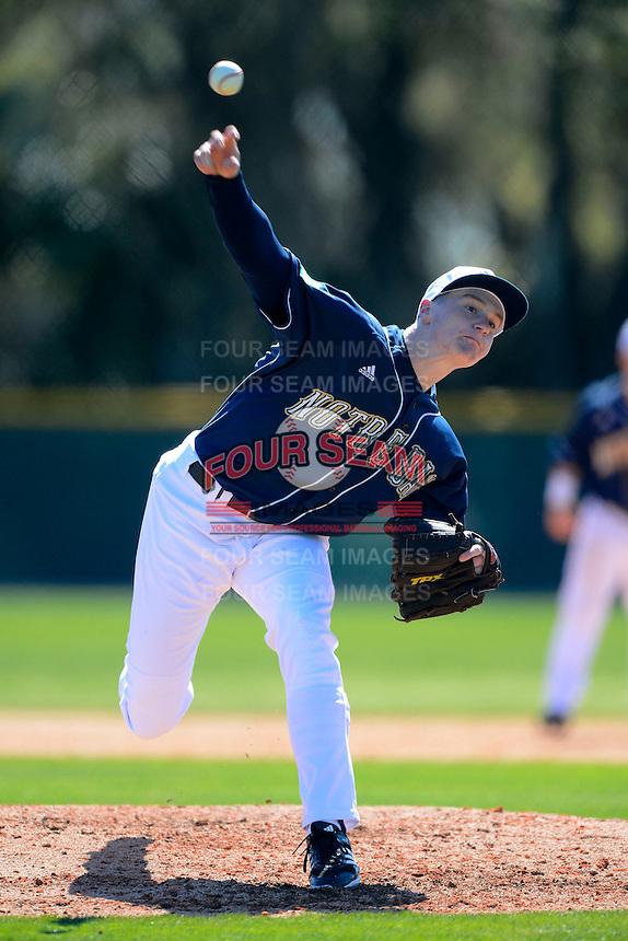 Notre Dame Fighting Irish pitcher David Hearne #11 during a game against the Mercer Bears at the Buck O'Neil Complex on February 17, 2013 in Sarasota, Florida.  Mercer defeated Notre Dame 5-4.  (Mike Janes/Four Seam Images)