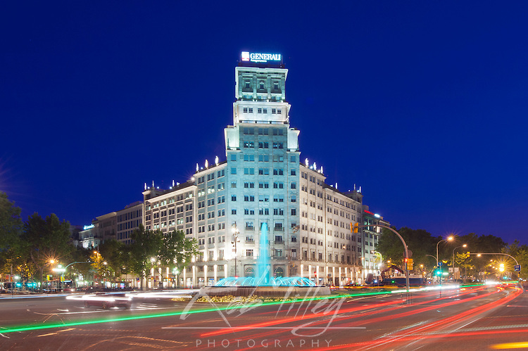 Europe, Spain, Catalonia, Barcelona, Passeig de Gracia at Twilight