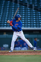 AZL Cubs 1 Raymond Pena (6) at bat during an Arizona League game against the AZL Angels on June 24, 2019 at Sloan Park in Mesa, Arizona. AZL Cubs 1 defeated the AZL Angels 12-0. (Zachary Lucy / Four Seam Images)