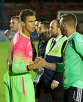Goalkeeper Nik Tzanev of Wycombe Wanderers after the Friendly match between Aldershot Town and Wycombe Wanderers at the EBB Stadium, Aldershot, England on 26 July 2016. Photo by Alan  Stanford.